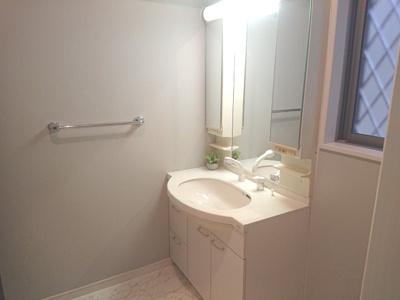 さっと寝癖を直したいときに重宝するシャワー付洗面化粧台を採用。洗面化粧台のお手入れもしやすいですね♪