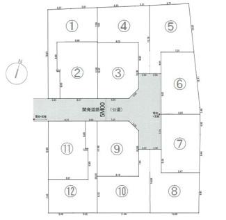 幅5m新設道路を囲む全12区画、お好きな工務店で建築できます