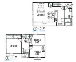 ①参考:延床面積87.48平米、建物価格1,310万円