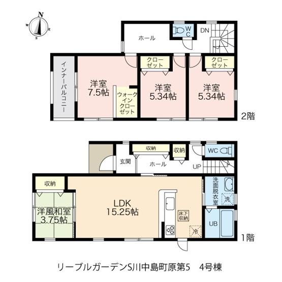 全室南向きの4LDKです。各お部屋に加え廊下にも収納が設置されています。