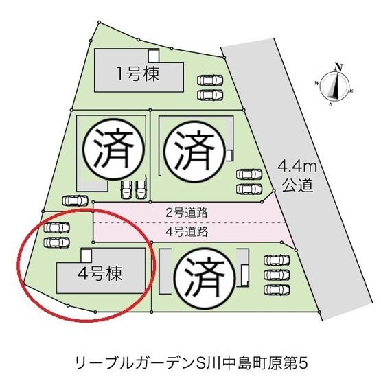 5棟の区画図です。ピンクの部分は2号棟との協定道路部分です。アスファルト舗装で整備されています。