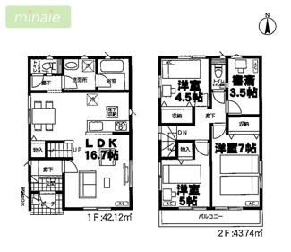 制震装置設置住宅 八千代市大和田新田 全2棟 2号棟