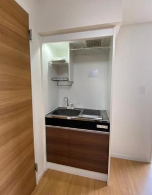 キッチンがお部屋にあるワンルームタイプのお部屋です。
