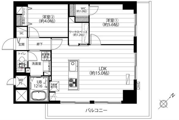 専有面積58.90平米 角部屋・L字バルコニー♪ 明るく開放的なアイランドキッチン! WIC・SIC・ワークスペースが特徴的!