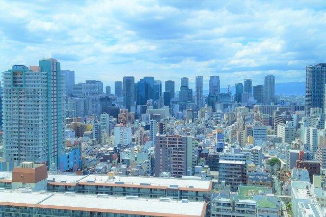 北区の中心部から大阪市内を一望