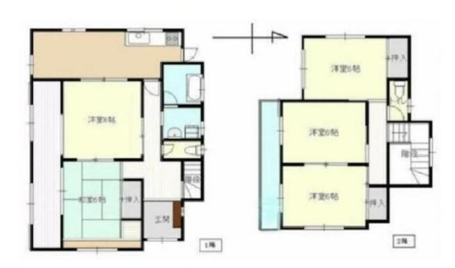 5DK、土地面積215.69m2、建物面積112.61m2 部屋数たっぷりの5DKの間取。全室南向きの明るい住まい!