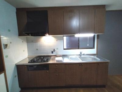 調理スペースも広いキッチンは使い勝手が良いです。 コンロとフードを交換しています。