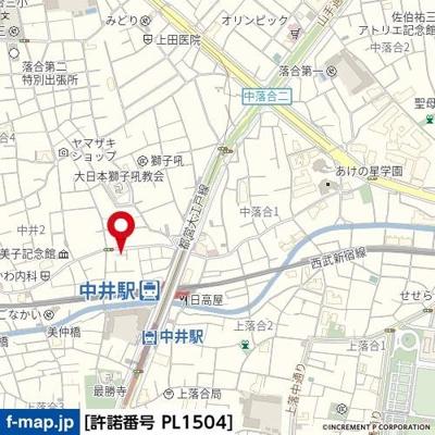 【地図】ブライズ新宿中井