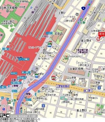 【地図】東建シティハイツ上野