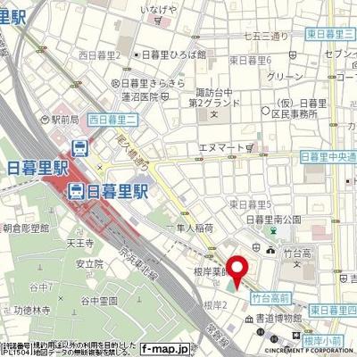 【地図】ロメック山手日暮里