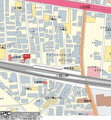 【地図】グランドコート八幡山