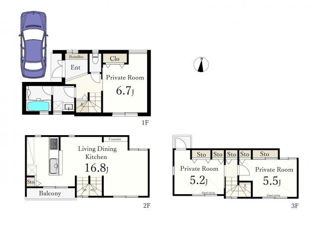 3LDK、土地面積55.12m2、建物面積82.25m2 、収納豊富 全室南向き 1階部分RC造 2階・3階部分木造
