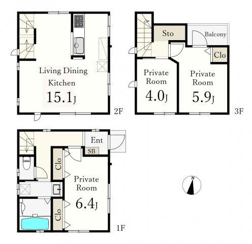 土地面積58.76㎡ 建物面積75.49㎡ 3LDK 充実の設備を備えた機能的な住まい♪