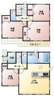 碧南市踏分町新築分譲住宅1号棟間取りです。