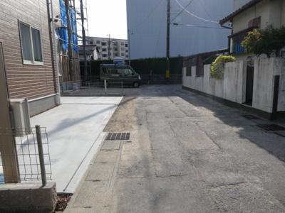 碧南市踏分町新築分譲住宅1号棟前面道路写真です。西側公道約4.0mに接道