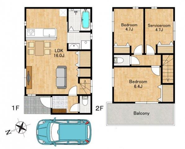 ◇Floor Plan◇リビング・ダイニング・キッチンと一直線に並んでいるので、全体を見渡すことができ、空間を広く感じやすい特徴です♪