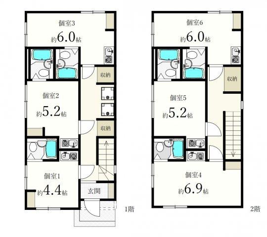土地面積69.17m2、建物面積89.25m2 、ワンルーム×6部屋
