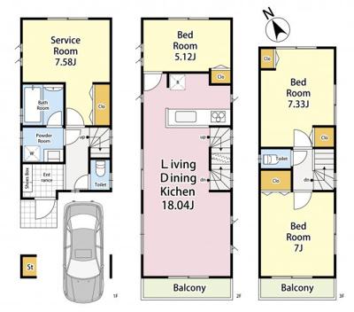 3LDK+S+カースペース 敷地面積 66.94㎡ 建物面積 111.27㎡