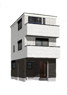 【外観パース】新築一戸建 川崎市幸区古市場2丁目 B号棟