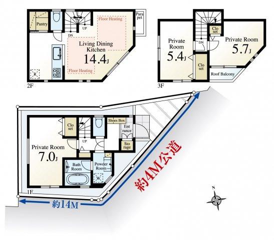 3LDK、土地面積49.92m2、建物面積79.81m2 、全室2面採光で陽当り・通風良好 堂々完成につきご内覧いただけます