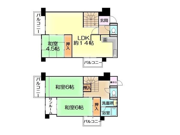 【間取り】 阪和線「新家駅」徒歩19分。令和3年5月リフォーム済みのメゾネットタイプの3LDKのお部屋です♪