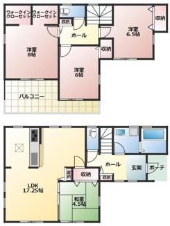 碧南市伏見町Ⅱ新築分譲住宅6号棟間取りです。