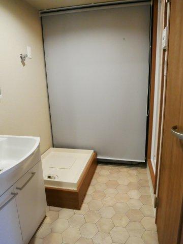 洗面所。ロールカーテンの奥には電気温水器があります。