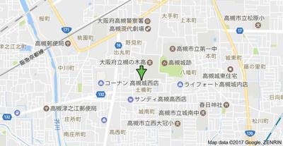 【地図】ジュネス帯曲輪 スモッティー阪急高槻店