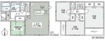 【区画図】東大阪市日下町8丁目 2号棟 新築戸建