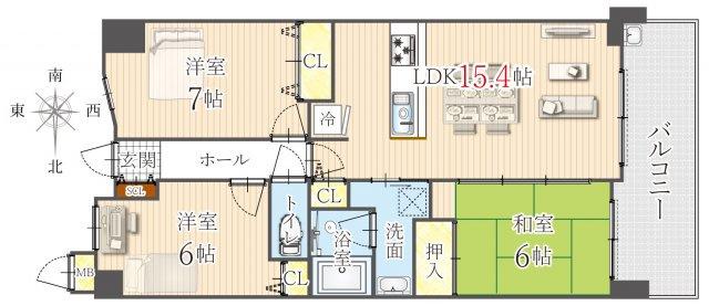 3LDK、価格3380万円、専有面積73.92㎡、バルコニー面積10.18㎡
