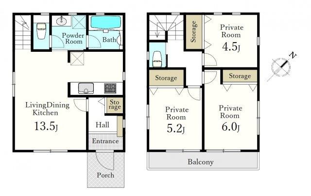 1階リビング+水回りを配した家事動線に優れた間取りです