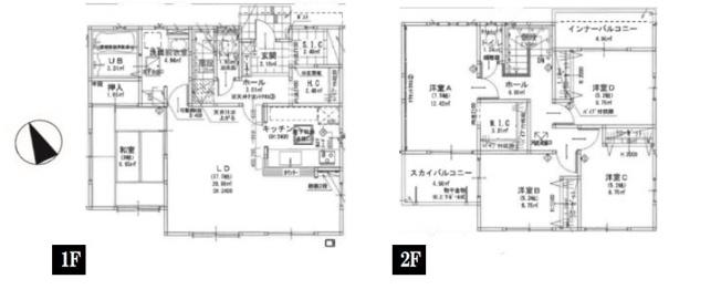 1号棟 5LDKSIC+HC+WIC 1階にクローゼットがあり、普段よく着る衣類や小物等を収納でき便利です。