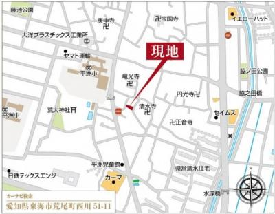 【地図】東海市荒尾町西川の新築戸建て2号棟