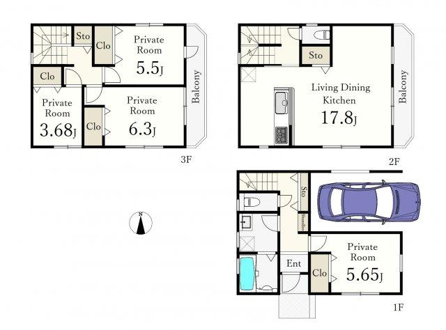 土地面積66.52㎡ 建物面積113.32㎡ 3階建 4LDK+ビルトインガレージ付 永住邸にふさわしい機能性でご満足いただける仕様となっております