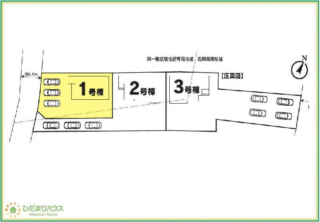 【区画図】つくば市大曽根Ⅰ 新築戸建 1号棟