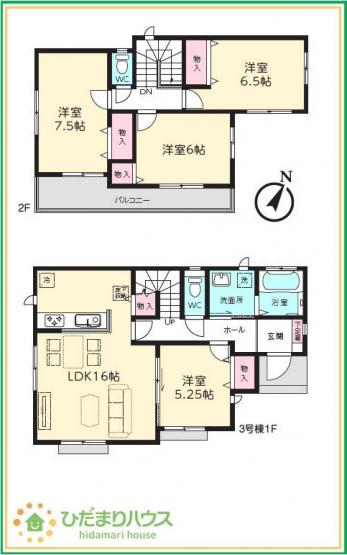 【区画図】つくば市大曽根Ⅰ 新築戸建 3号棟