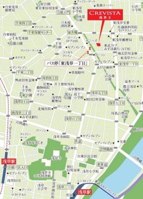 【地図】クレヴィスタ浅草Ⅱ