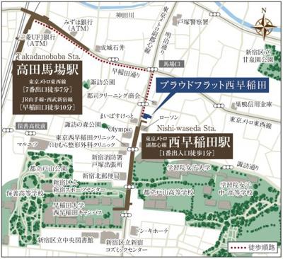 【地図】プラウドフラット西早稲田