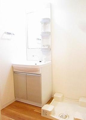 うれしい独立洗面台と室内洗濯機置き場です。