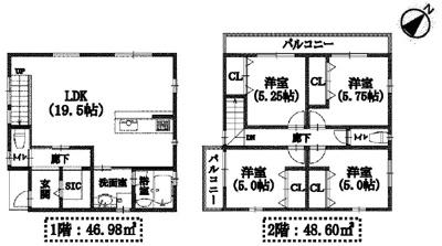 【区画図】箕面市半町4丁目 新築戸建 A号地
