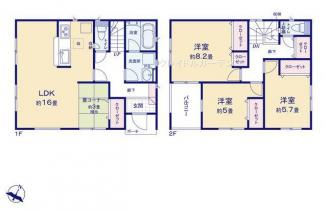 3LDK+畳コーナーの間取り収納多く、駐車スペース2台可です。