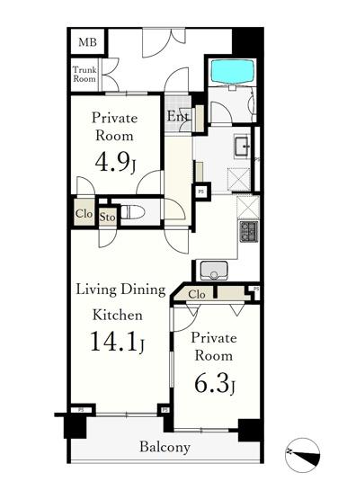 専有面積57.04㎡ 2LDK LDkには床暖房完備 トランクルーム0.81㎡