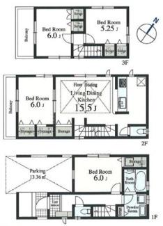 2号棟:2階LDK、開放的な住空間。地震に強いお住まいです。