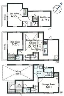 1号棟:2階LDK、開放的な住空間。地震に強いお住まいです。