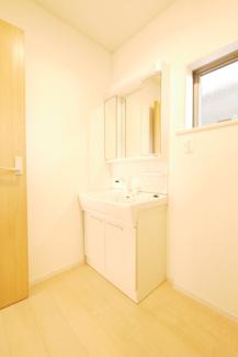 洗面所の施工例。シャワー付きの独立洗面台を設置します。