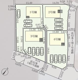 1号棟区画図。車は3台駐車可能です。通路部分も結構幅がございます。