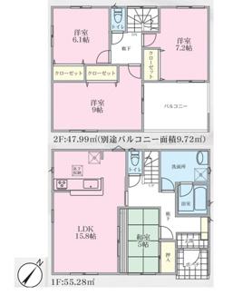4号棟・103.27平米4LDKの間取り。 大型インナーバルコニー付き 主寝室9帖