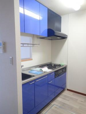 3口ガスコンロ/グリル付きシステムキッチンです☆グリルがあるとお料理の幅が広がりますね♪場所を取るお鍋やお皿もたっぷり収納できてお料理がはかどります!