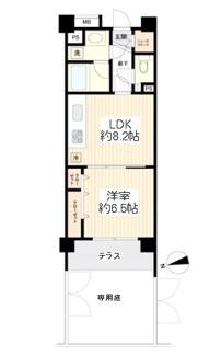 新規内装リノベーション済、ゆとりある専用庭付の1階1LDK