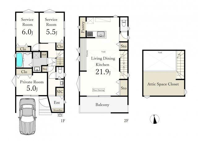1LDK+2S(納戸)、土地面積97.94㎡、建物面積96.87㎡  荻窪3丁目の閑静な住宅地に誕生する新築戸建 広々21.9帖のLDKが魅力的♪♪ ~デザイン性と機能性を兼備えたハイグレード邸宅~